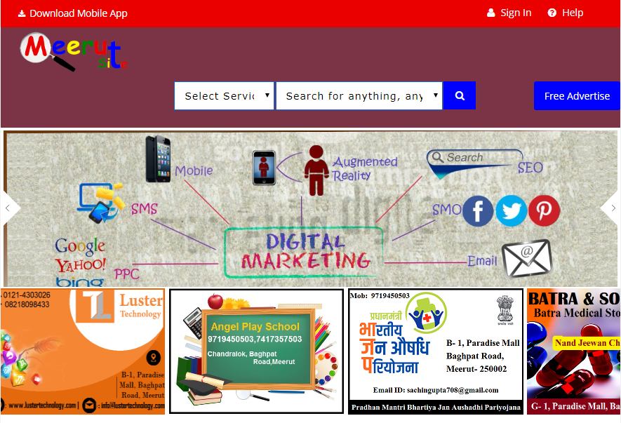 Meerut Site is a free Online business listing directory in India. The website helps to find Shops, Hospitals, Schools, companies, service providers, products and all types of business in India. You can list your business or service for free in Meerut site. You can add business description, business categories, contact details, photos, social media profiles, location map and much more to the listing, How to grow your business.